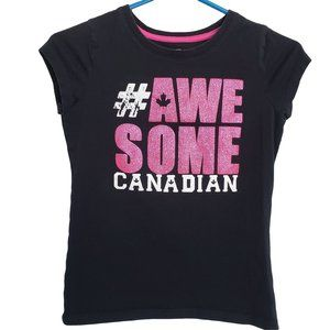 #AWESOME CANADIAN Black & Pink Glitter T Shirt M